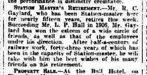 Grantham Journal 2nd April 1921 - Retirement of stationmaster Richard Charles Gaylard | British Newspaper Archive