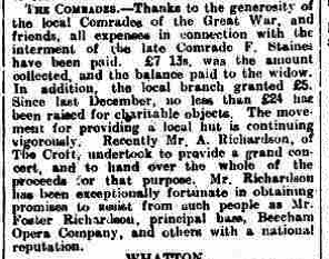 Grantham Journal, 27th November, 1920 - Article reporting the support given to the Staines family with regard to the funeral and interment expenses by the Comrades of the Great War.   British Newspaper Archive