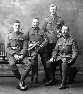 Recruitment photograph taken in the photographer's studio - Percy Allcorn is sitting, on the right. | From the private collection of Mrs Jill Bagnall.