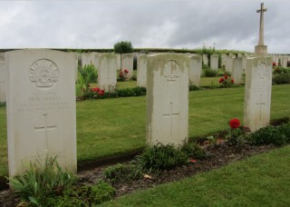 The grave of Sapper Ernest Jones at Bernafay Wood Military Cemetery buried alongside Sapper M.R Smith and Sapper W.V. Gross all killed in the same explosion at Longueval on the 1st December 1916 | From the collection of Sue and David Middleton