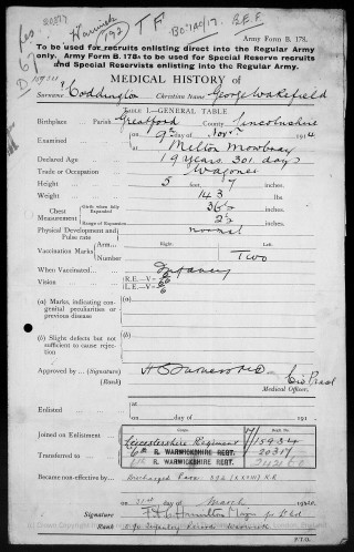 George Wakefield Coddington, Medical Report on enlistment November 1914 at Melton Mowbray. | The National Archive
