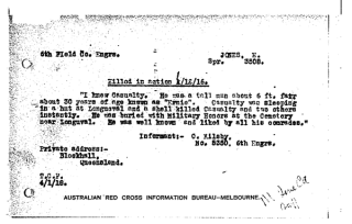 Australian Red Cross Society Woubnded and Missing Enquiry Bureau files 1914-18 1DRL/0428 Report. 3508 Sapper Ernest Jones | © Commonwealth of Australia (National Archives of Australia) 2015