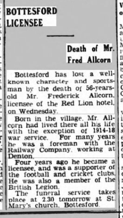 Grantham Journal 15/9/1917: Funeral notice for the late Mr William Allcorn. | British Newspaper Archive