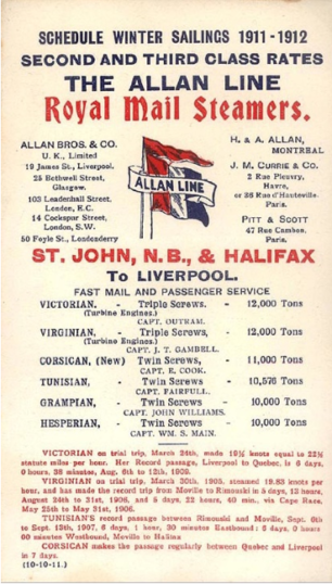 Allan Line Schedule 1911-1912. Frank Raithby sailed on the SS Corsican | www.norwayheritage.com