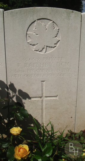 Frank Raithby's headstone at the Bucquoy Road Cemetery, Ficheux, France | BCHG_DM