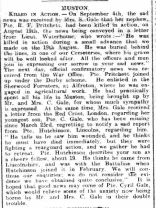 Grantham Journal 14th September 1918 | Courtesy of the Grantham Journal