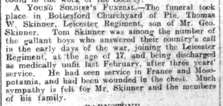 Thomas Skinner's obituary in the Grantham Journal on the 15th June 1918 | Courtesy of the Grantham Journal