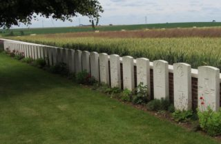 Le Cateau Cemetery, France. Cyril Gale's headstone the 1st on the right   BCHG DM