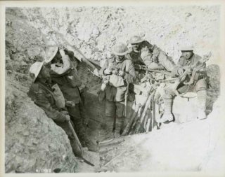 Canadian soldier in captured German trench during the Battle of Hill 70 in August 1917. | Library and Archives Canada - PA-001718