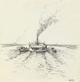 A steamer and barges on the Tigris by Donald Maxwell | © IWM(Art.IWM ART 2427) https://www.iwm.org.uk/collections/item/object/17813