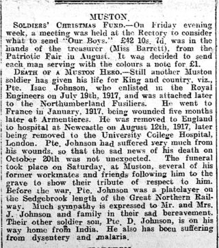 Isaac Johnson's obituary published in the Grantham Journal 2nd November 1918 | Courtesy of the Grantham Journal
