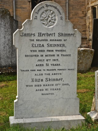 James Herbert & Eliza Skinner's gravestone in St Mary's Churchyard, Bottesford | BCHG Archive