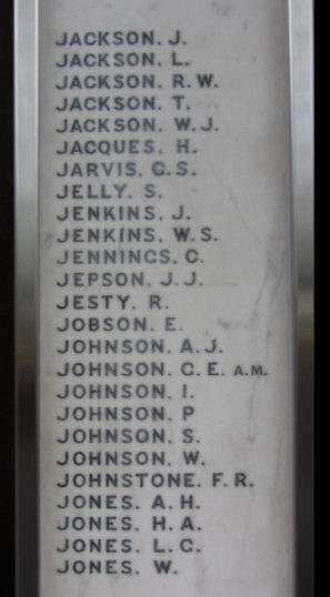 GNR War Memorial at King's Cross Station. 'Johnson. I.' on Panel 6 | BCHG DM