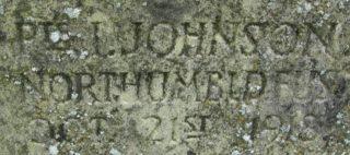 Muston War Memorial inscription for 'Pte. I. Johnson Northumbld Fus. Oct 21st 1918'   BCHG DM
