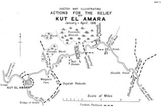 Map showing actions for the Relief of Kut el Amara January to April 1916 | Source not currently known