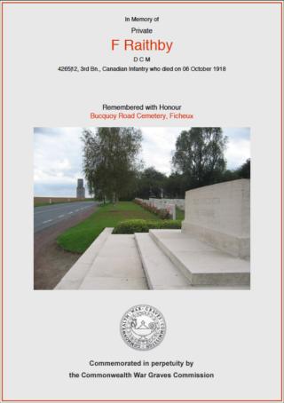 Frank Raithby DCM | CWGC