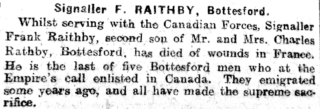 Grantham Journal announcement  on the 26th October 1918 of Frank Raithby's death | Courtesy of the Grantham Jurnal