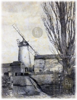 The Raithby Mill also known as Scrimshaw's Mill, Belvoir Road photographed by F. Mortimer in the 1930s | From the collection of Ms. Charlotte Bugg. Originally published in the Nottingham Guardian
