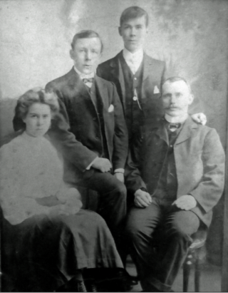 Family Portrait of the Skinner family showing left to right - Doris, Bert, Ernest and their father James. | From the collection of Michael Dix