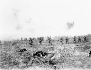 Battle of Vimy Ridge April 1917. Canadian forces advancing through no-man's land. Captain H.E. Knobel | PA-001020 - Library and Archives Canada