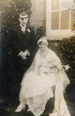 Wedding photograph of Frances Elizabeth Walls and Andrew Charles Nugee, 1920, Spilsby | Courtesy of Julian Walker