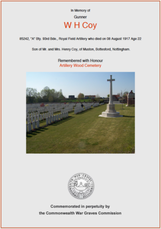 William Henry Coy | CWGC