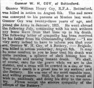 Gunner W.H. Coy - Grantham Journal 25th August 1917 | Courtesy of the Grantham Journal