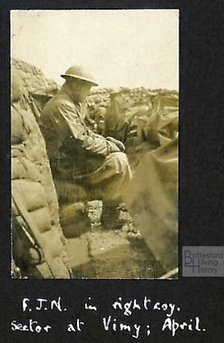 John Nugee, photographed in the trenches in the Vimy sector, possibly in 1917   Courtesy of Julian Walker
