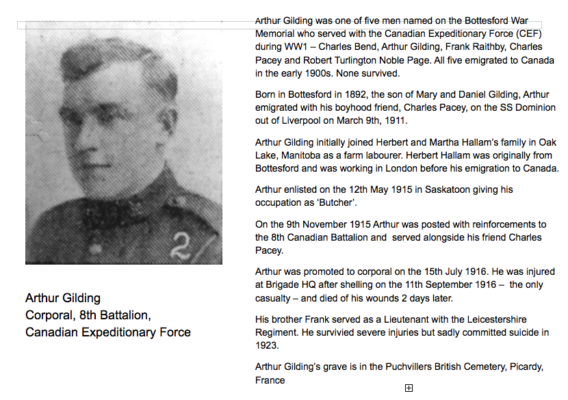 Remembering Corporal Arthur Gilding | BCHG