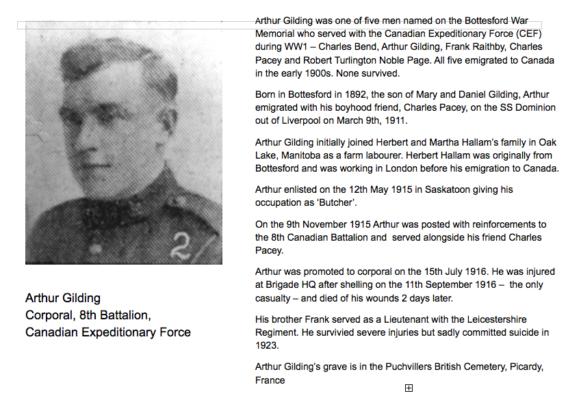 Remembering Corporal Arthur Gilding | BCHG