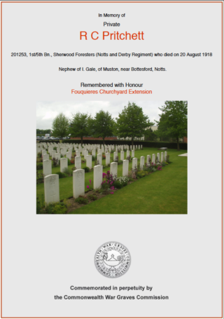 Reginald Cecil Pritchett | CWGC