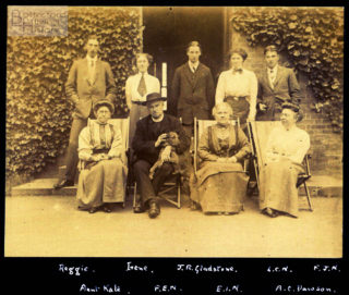A family group in front of the Rectory, Muston, c.1910. Rear L-R: Reggie (Richards), Irene, J.R.Gladstone, Laura Nugee, Francis John Nugee; Front L-R: Aunt Kate, Rev Francis Edward Nugee, Edith Isabel Nugee, A.C.Dawson | Courtesy of Julian Walker