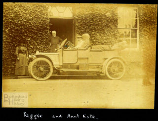 Regie Richards at the wheel of the Rev. Stone's Darracq in front of Muston Rectory | Courtesy of Julian Walker