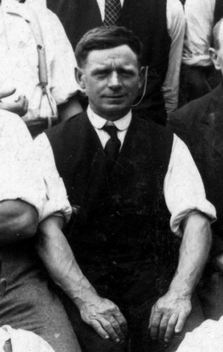 Tommy Robinson in the 1920s or 30s, one of the Bottesford British Legion bowls team.   From the collection of Mrs Anne Hewitt.