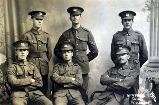 Enlistment photograph of Bottesford men, believed to have been taken in 1914. The man on the left of the back row is believed to be Tommy Robinson (6th Leicestershires). | From the collection of Chris Harris