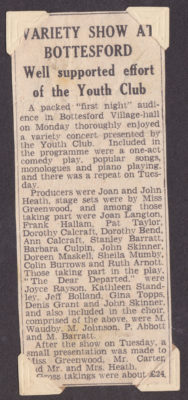 Grantham Journal article about the Youth Club variety show | Barbara Cain