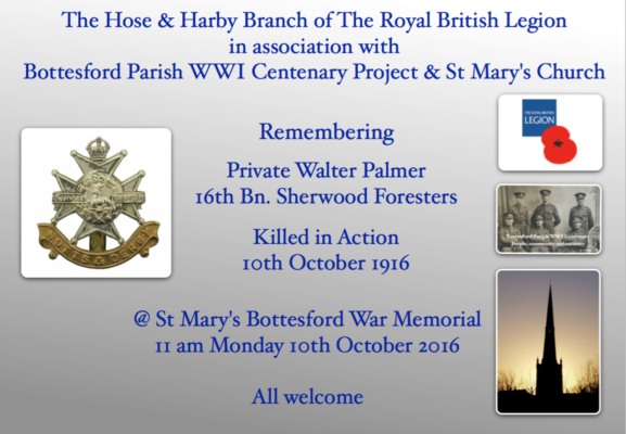 11 am Monday 10th Octoberr @ Bottesford War Memorial, St Mary's Church | BCHG