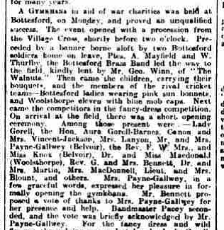 Grantham Journal, report of a Gymkhana held in Bottesford, 11th August 1917. | Courtesy of the Grantham Journal 1917
