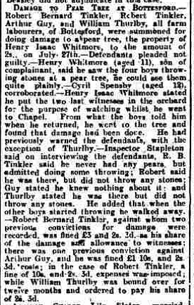 Grantham Journal, report of a case at the Belvoir Police Court, 6th August 1924. | Courtesy of the Grantham Journal