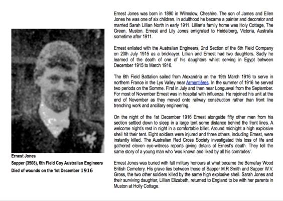 Remembering Sapper Ernest Jones