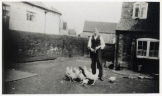 Reginald Barke, photographed in 1942 in the yard at the rear of the Coffee House, Market Street, Bottesford | Bottesford Heritage Archive BOT/028/031; from the collection of Mrs Beryl Smith
