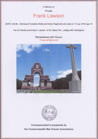 Frank Lawson commemoration at Thiepval War Memorial, Picardy | Commonwealth War Graves Commission