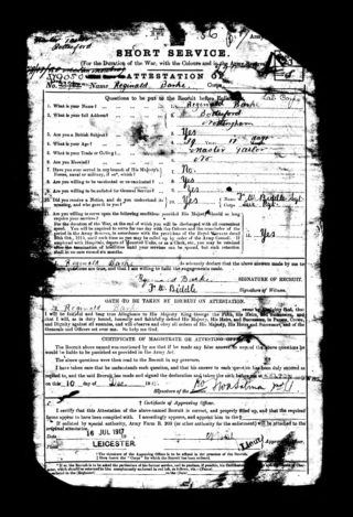 Reginald Barke's Attestation Paper from 1915, revised in 1917 when was actually called up. | The National Archive