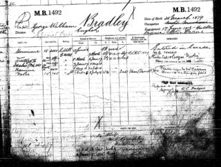 George William Bradley's RNVR Service Record sheet | The National Archive