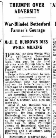 Harry Burrow's obituary published on the Grantham Journal, 25th January 1946 - part 1 of 2 | British Newspaper Archive