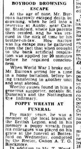 Harry Burrow's obituary published on the Grantham Journal, 25th January 1946, part 2 of 2 | British Newspaper Archive