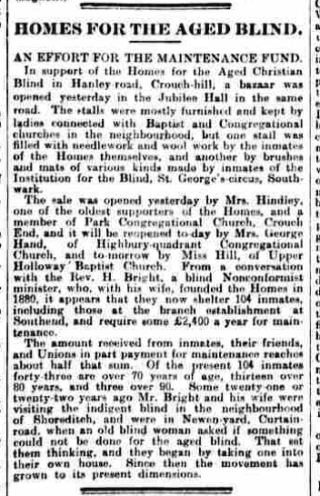 A press report from 1901 in which Mrs George Hand took a prominent part in a charitable meeting in North London. | British Newspaper Archive: The Daily News, Wednesday, October 23rd 1901