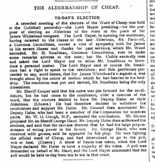 George Hand standing for nomination as Alderman for the Ward of Cheap, in the City of London. In the event, he lost the count and was therefore not elected.   British Newspaper Archive