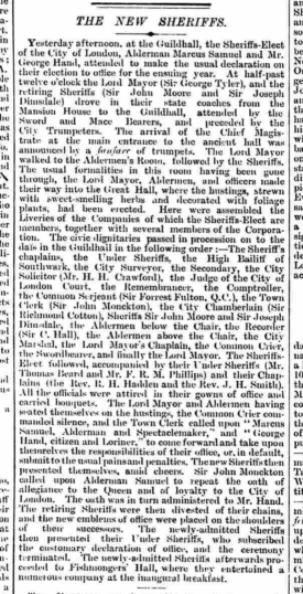 An account of the Election of the Sheriffs of the City of London during 1894. | British Newspaper Archive: The Morning Post, Saturday, September 29th 1894