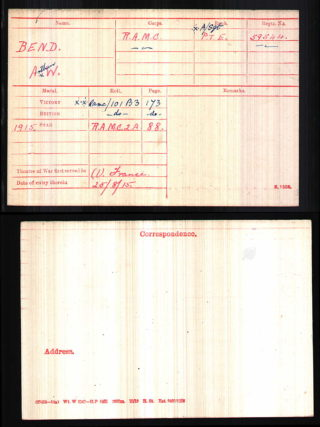 Pte A.W. Bend Rpyal Army Medical Corps, Medal Index Card | National Archive